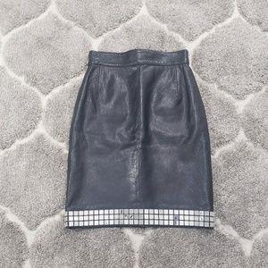 Moschino Vintage Leather Mirror High Waist Skirt
